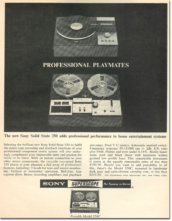 1965 ad for the Sony TC-350 reel tape recorder in the Reel2ReelTexas.com's vintage reel tape recorder recording collection