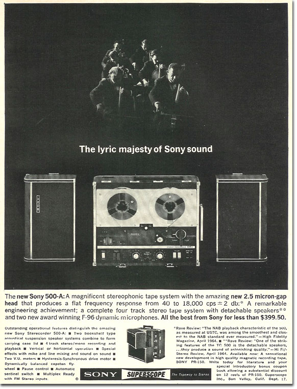 In the Reel2ReelTexas.com's images/R2R/vintage recording collection, this is a 1965 Sony 500A tape recorder ad