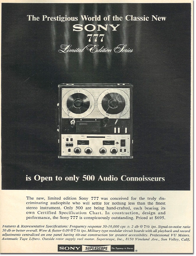 1964 ad for the  Sony TC-777 LE Limited edition reel tape recorder in the Reel2ReelTexas.com vintage reel tape recorder recording collection