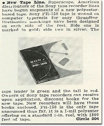 In the Reel2ReelTexas.com's images/R2R/vintage recording collection, this is a 1965 Sony PR-150 recording tape ad