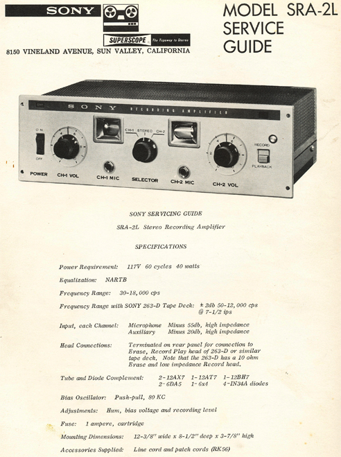 1965 specs page for Sony SRA-2L in Reel2ReelTexas.com images/R2R/vintage reel to reel tape recorder collection