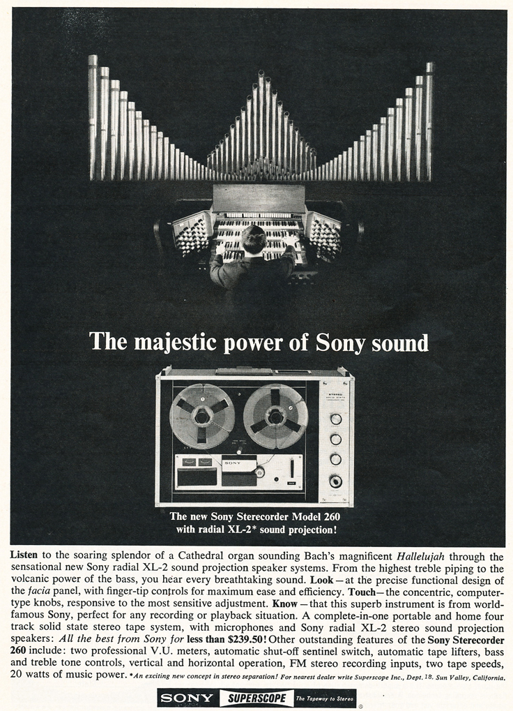 1965 ad for the Sony TC-260 reel to reel tape recorder in the Reel2ReelTexas.com's images/R2R/vintage recording collection