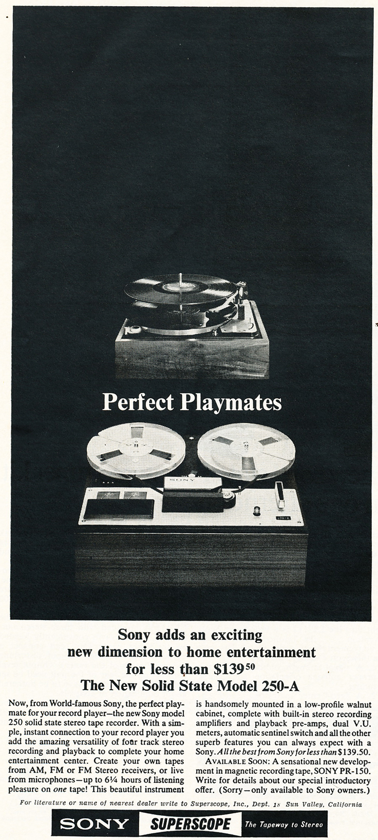 1965 ad for the Sony TC-350 reel tape recorder in the Reel2ReelTexas.com's images/R2R/vintage recording collection