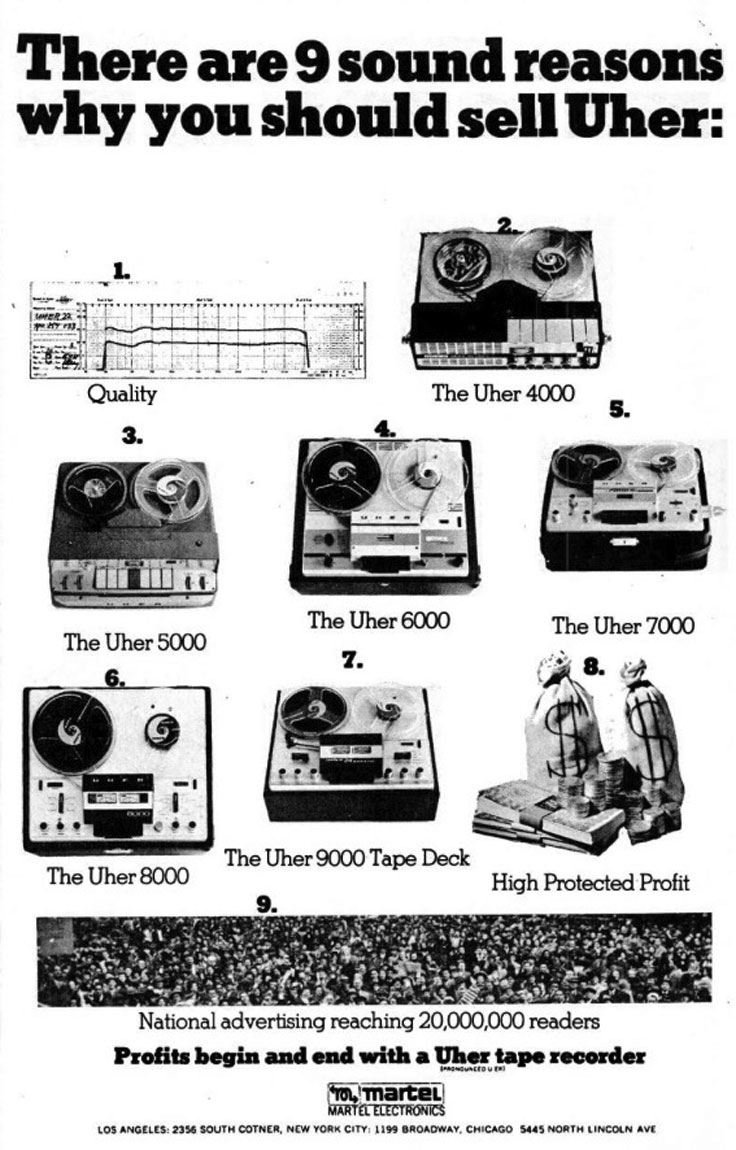 1965 ad for Uher Martel reel to reel tape recorders