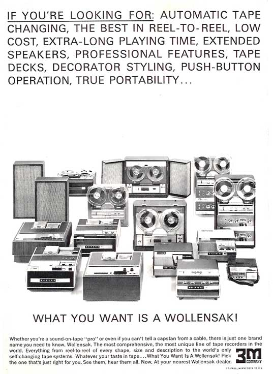 1965 ad for Wollensak reel tape recorders in the Reel2ReelTexas.com vintage reel tape recorder recording collection