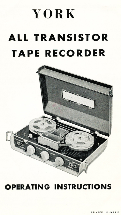 "York 3"" battery portable reel to reel tape recorder manual in our Reel2ReelTexas/Theophilus/MOMSR vintage reel tape recorder collection"