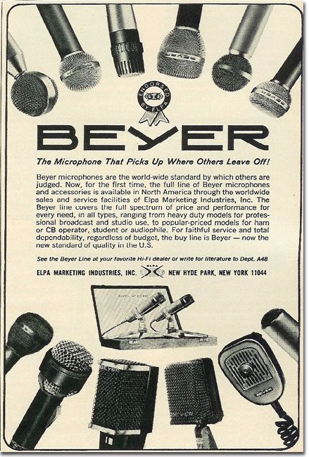 Beyerdybanic microphone ad in the Reel2ReelTexas.com vintage recording collection