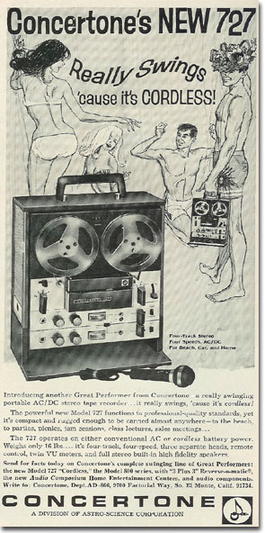 1966 ad for Concertone reel to reel tape recorders in the Reel2ReelTexas.com vintage recording collection