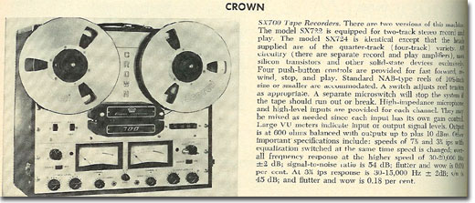 1965 Crown reel to reel tape recorder review in the Reel2ReelTexas.com vintage recording collection