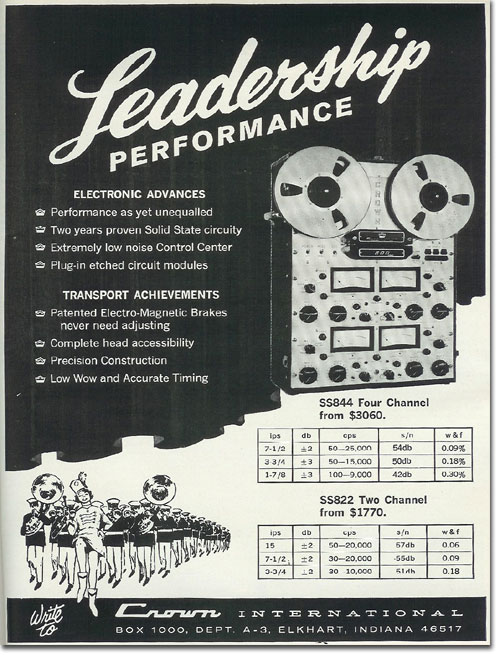 1966 Crown reel to reel tape recorder ad in the Reel2ReelTexas.com vintage recording collection