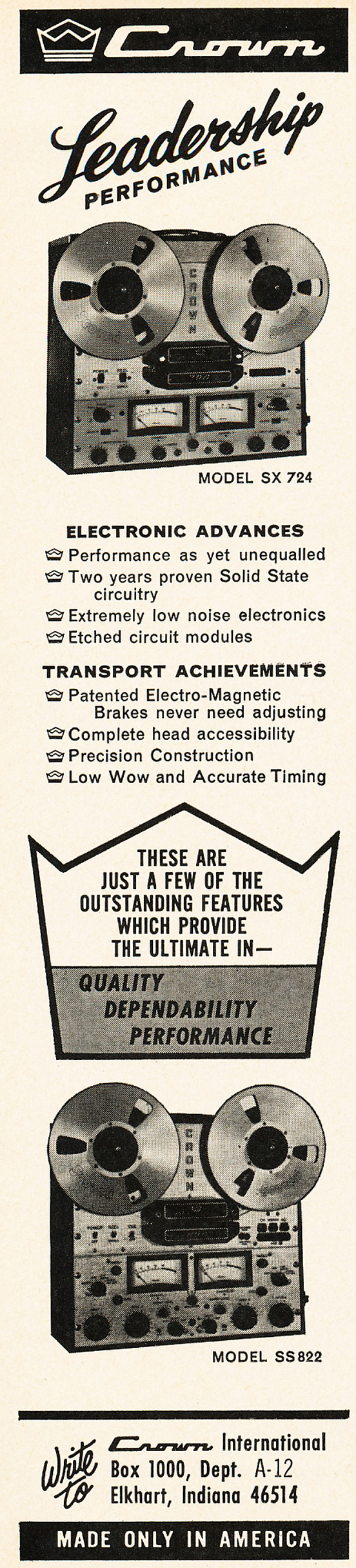 Reel To Tape Recorder Manufacturers Crown Audio Inc Constant Voltagespeaker Measurement Circuit 1966 Ad In The Reel2reeltexascom Vintage Recording Collection