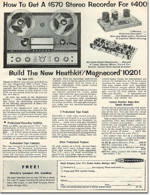 1966 HeathKit/Magnecord reel tape recorder kit ad in the Reel2ReelTexas.com vintage reel tape recorder recording collection