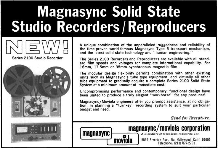 1966 Magnasync Studio MAgnetic Film Recorder