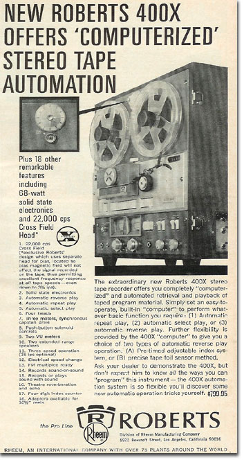 picture of 1966 Roberts tape recorder ad