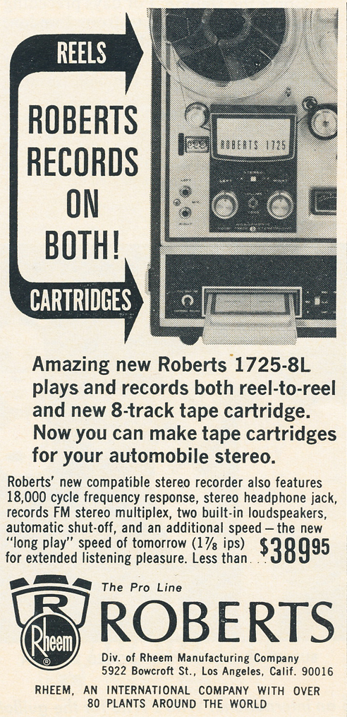 1966 Roberts 1725-8L ad in Reel2ReelTexas.com vintage tape recorder collection