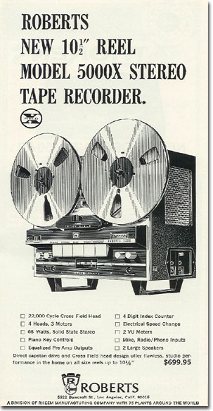 picture of 1966 Roberts 5000X tape recorder ad