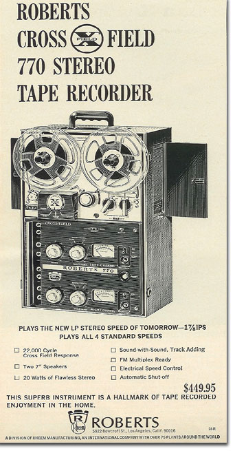 picture of 1966 Roberts 770X tape recorder ad