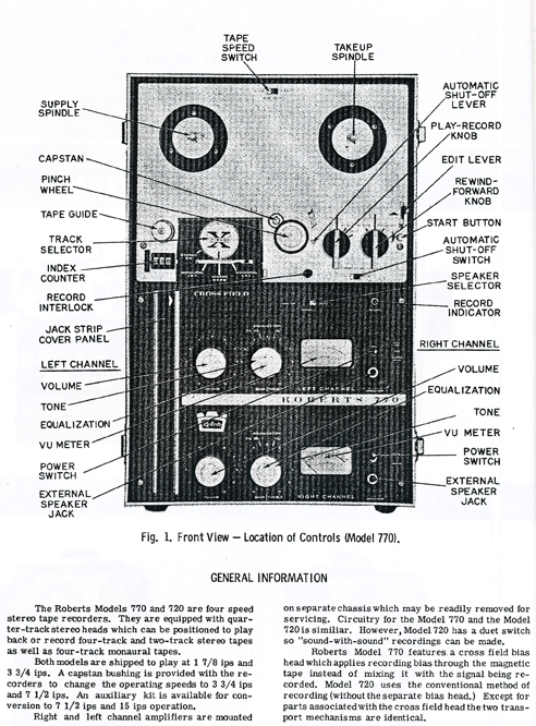1966 Roberts service manual for the 720, 720A, 770 and 770X reel tape recorders in Reel2ReelTexas.com vintage reel to reel tape recorder collection