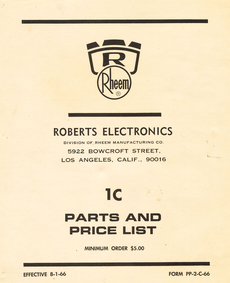 1966 Rheem Roberts Recorders parts list in the reel2reeltexas.com vintage recording collection