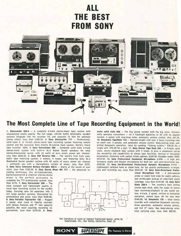 1966 ad for Sony tape recorders in Reel2ReelTexas.com images/R2R/vintage reel to reel tape recorder collection