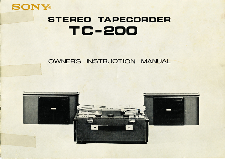 1966 manual cover for the Sony TC-200 in Reel2ReelTexas.com images/R2R/vintage reel to reel tape recorder collection