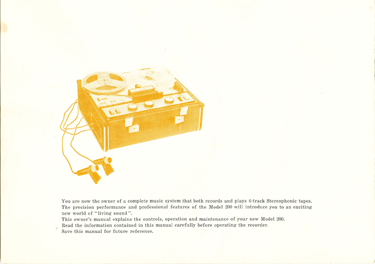 1966 manual page  for the Sony TC-200 in Reel2ReelTexas.com images/R2R/vintage reel to reel tape recorder collection
