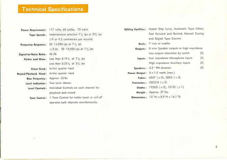 1966 manual page showing the specifications  for the Sony TC-200 in Reel2ReelTexas.com images/R2R/vintage reel to reel tape recorder collection