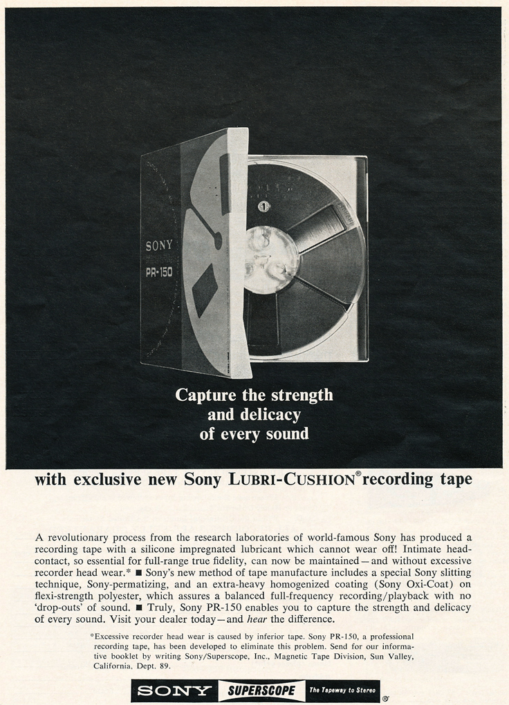 1966 ad for Sony recording tape in Reel2ReelTexas.com images/R2R/vintage reel to reel tape recorder collection