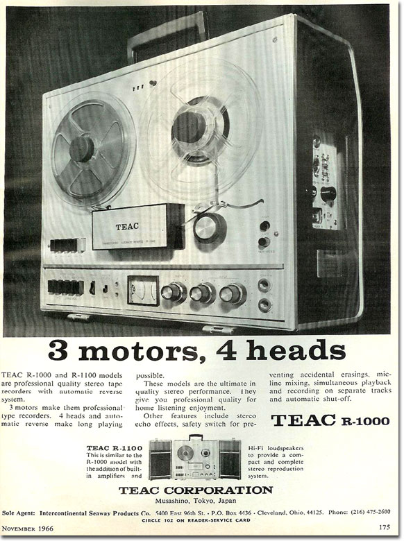 1966 Teac ad for the R-1000  open reel tape recorder in the Reel2ReelTexas.com vintage recording collection