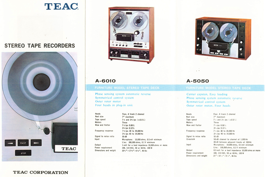 1966 Teac brochure showing all the Teac reel to reel tape recorder models in cluding the Teac A-6010 & A-5050 open reel tape recorder in the Reel2ReelTexas.com vintage recording collection