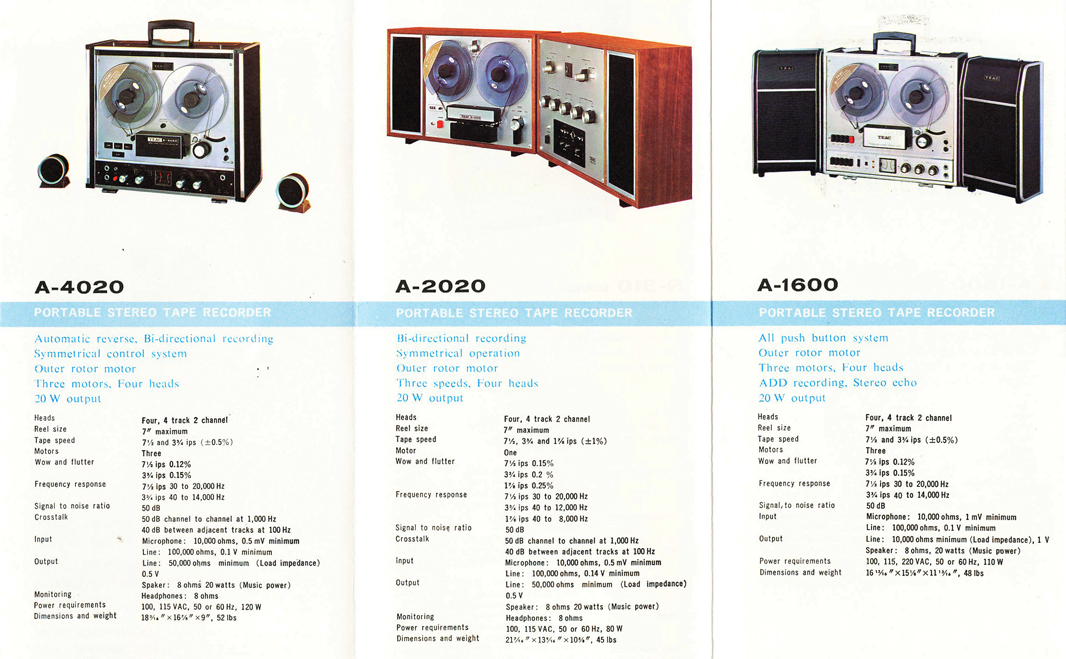 1966 Teac brochure showing all the Teac reel to reel tape recorder models in cluding the Teac A-4020, Teac A-2020 & A-1600 open reel tape recorder in the Reel2ReelTexas.com vintage recording collection