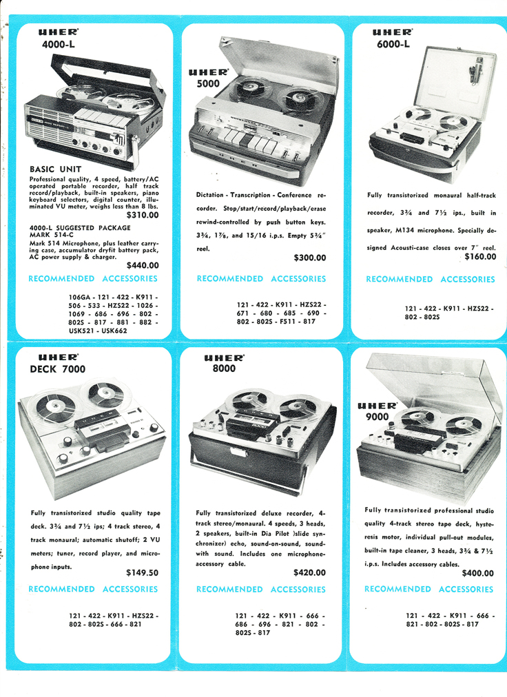 1967 price list for Uher Martel reel to reel tape deck in the Reel2ReelTexas.com vintage reel tape recorder recording collection