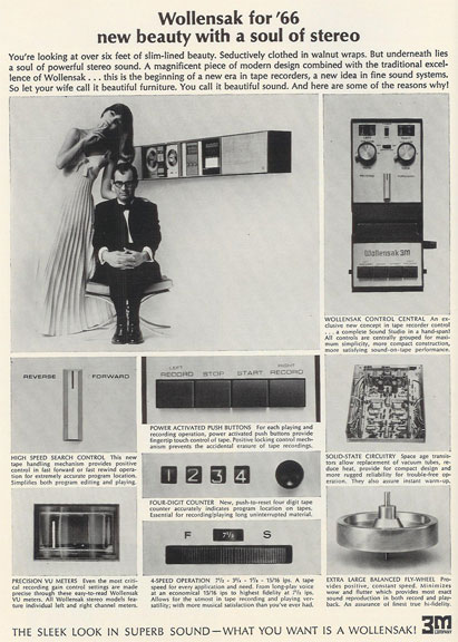 1966 Wollensak ad in the Reel2ReelTexas.com vintage recording collection