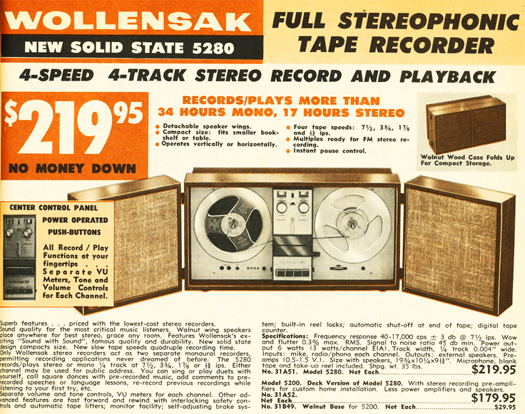 Wollensak ad for the 5280 reel tape recorder in the Reel2ReelTexas.com vintage reel tape recorder recording collection