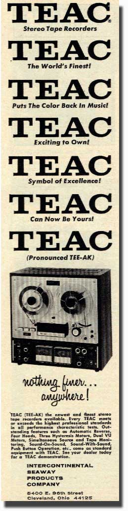 1967 Teac ad for the A-4010 open reel tape recorder in the Reel2ReelTexas.com vintage recording collection