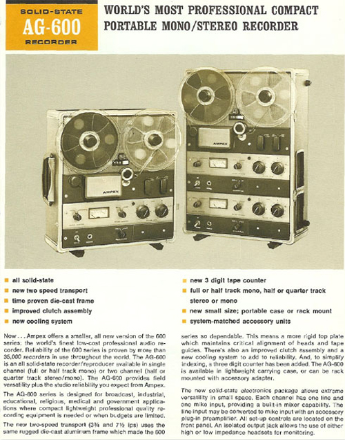 Ad for the Ampex AG-600-2 Solid State professional reel to reel tape recorder in the Reel2ReelTexas.com vintage reel tape recorder recording collection