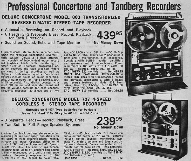 1967 ad for Concertone reel to reel tape recorders in the Reel2ReelTexas.com vintage recording collection