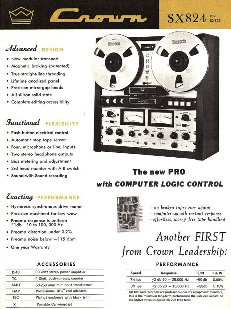 1968 ad for the Crown SX 824 professional reel to reel tape recorder in the Reel2ReelTexas.com vintage recording collection