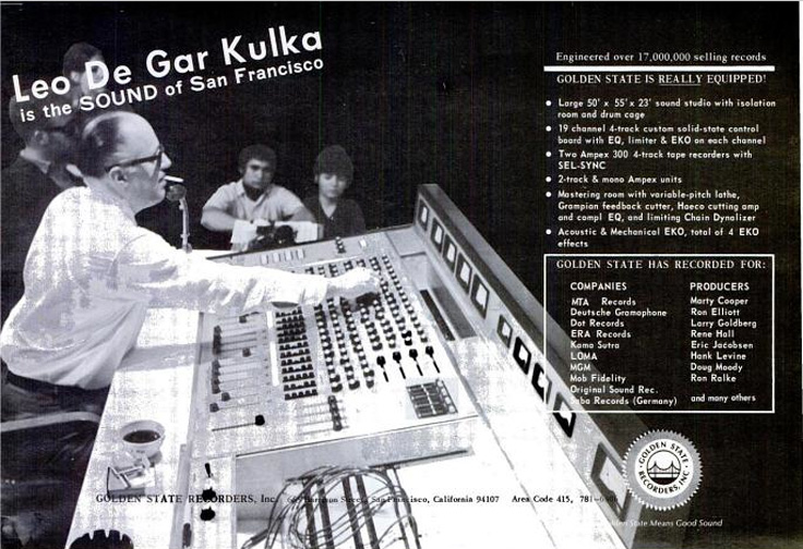 Ad in the May 6, 1967 Billboard for leo De Gar Kulka's Golden State Recorders, Inc.