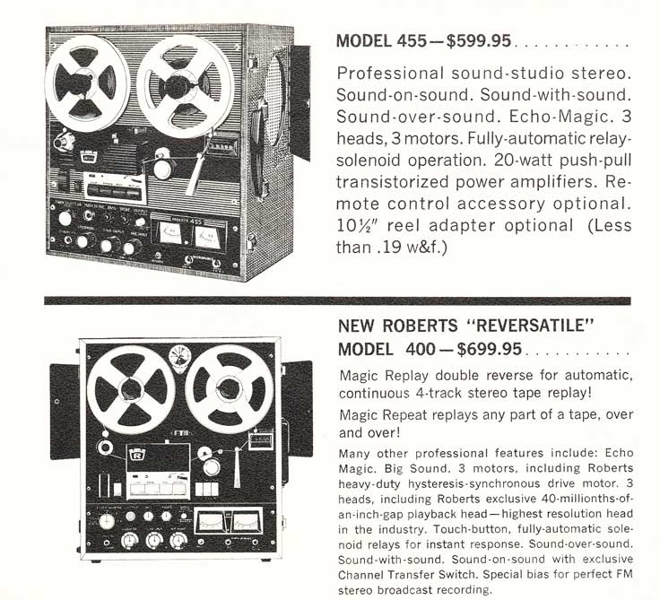 1967 information on the Roberts tape recorders in Reel2ReelTexas.com's vintage recording collection