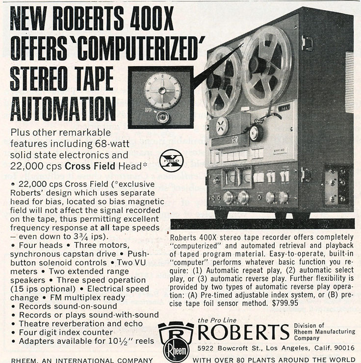 1967 ad for Roberts 400X tape recorders in Reel2ReelTexas.com's vintage recording collection