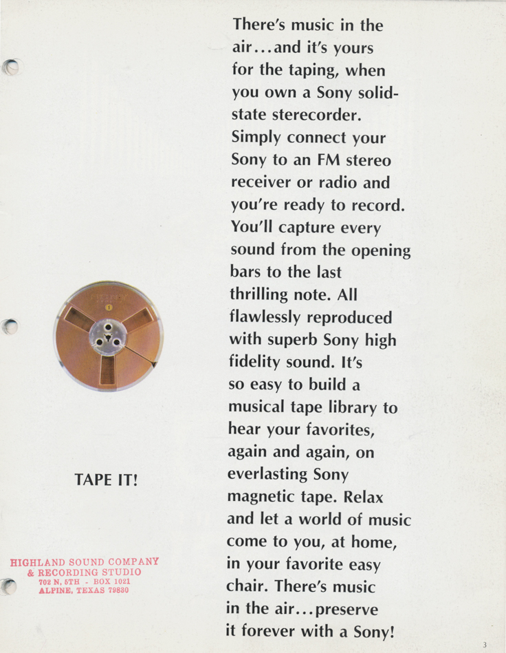 1967 Sony tape recorder brochure in Reel2ReelTexas.com's images/R2R/vintage reel tape recorder collection