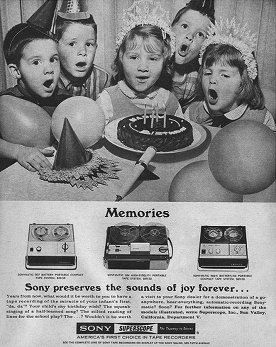 Children in ad for Sony portable recorders in Phantom Productions' images/R2R/vintage reel tape recording site