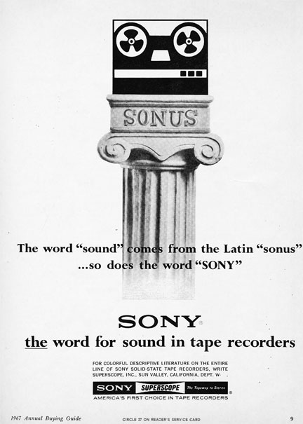 1967 ad for the Sony Sonus in Reel2ReelTexas.com's images/R2R/vintage recording collection