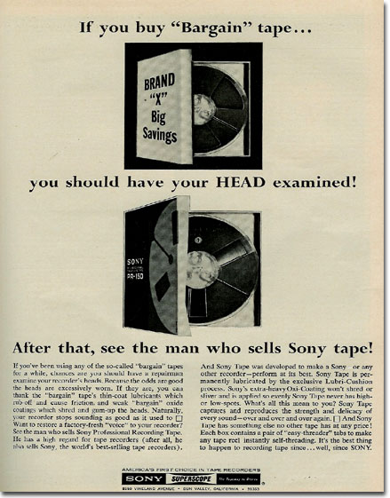 1967 ad for Sony reel recording tape PR-150