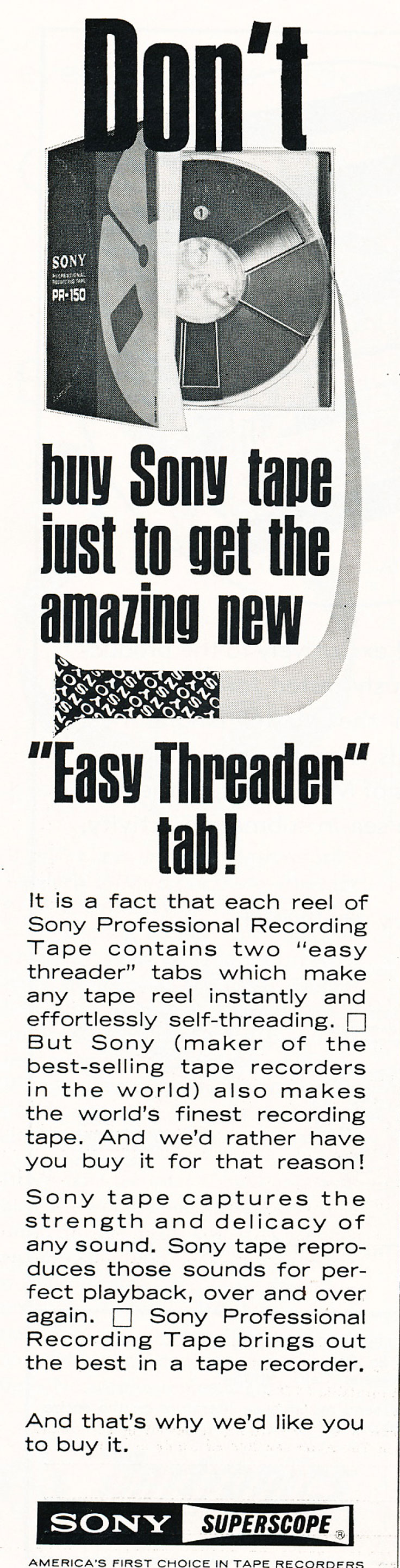 1967 ad for the Sony reel recording tape in Reel2ReelTexas.com's images/R2R/vintage recording collection