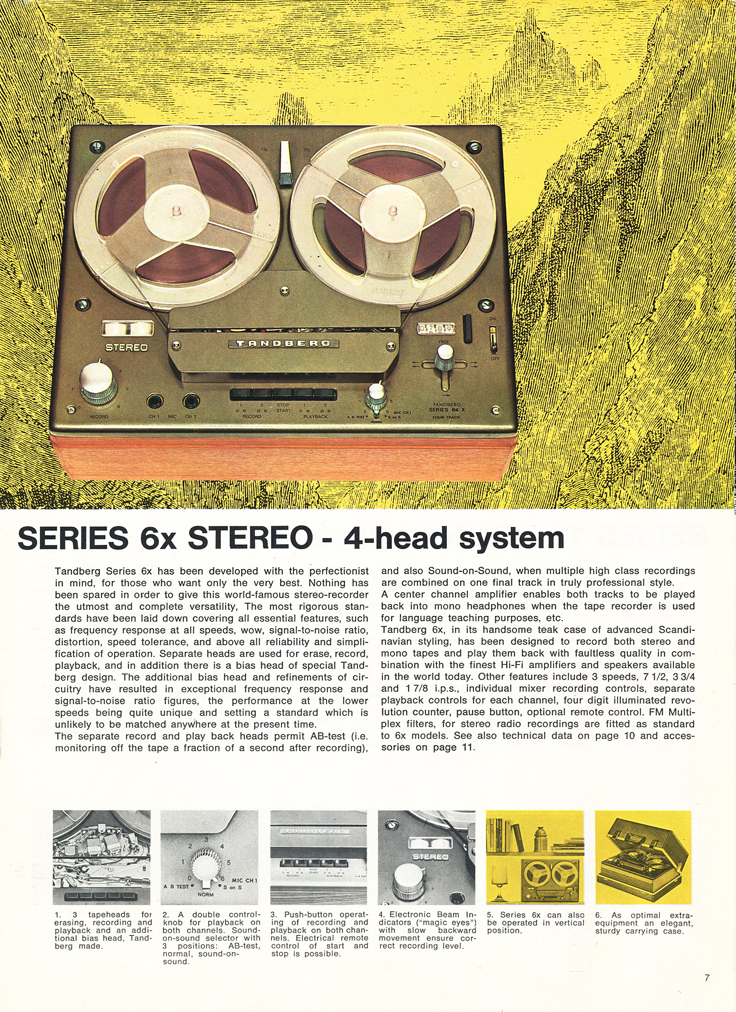 1967 Tandberg brochure featuring the Tandberg Model 6x, the Tandberg Model 8, Tandberg Model 9, Tandberg Model 11, Tandberg Model 12 and the Tandberg Model 13 reel tape recorders in the Reel2ReelTexas.com vintage recording collection