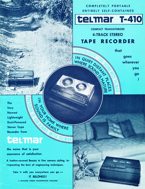 1967 ad for the Uher built Telmar T-410 stereo portable reel tape recorder in the Reel2ReelTexas.com vintage recording collection