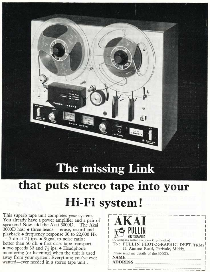 1968 United Kingdom Akai reel tape recorder ad in the Reel2ReelTexas.com vintage reel tape recorder recording collection