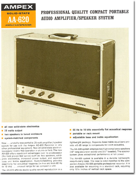 1958 ad for the Ampex AA-620 professional speaker system for the Ampex reel tape recorder in the Reel2ReelTexas.com vintage recording collection Museum's vintage collection